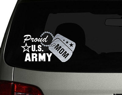 "Proud US Army Mom Vinyl Car Decal Sticker 7.5"" (W) with Silver Military Dog Tag"