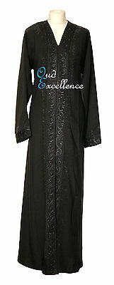 Black Open Nidha Abaya with Black Diamante - Jilbab Batwing Kaftan Dress Kimono