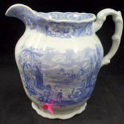 Ridgway ORIENTAL (BLUE, GOLD TRIM) 64 Ounce Pitcher minor crack AS IS