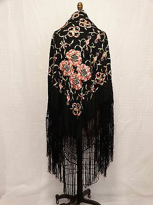 Vtg 1920'S Vibrant Floral SILK EMBROIDERED PIANO SHAWL Black Silk FRINGED