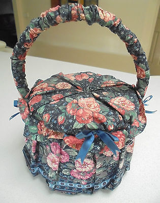Shabby vintage/retro floral Fabric Round sewing basket fabric lining