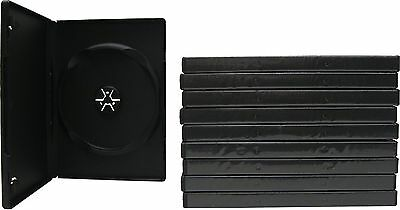 10 Single Side Black DVD Cases with Clear Plastic Cover