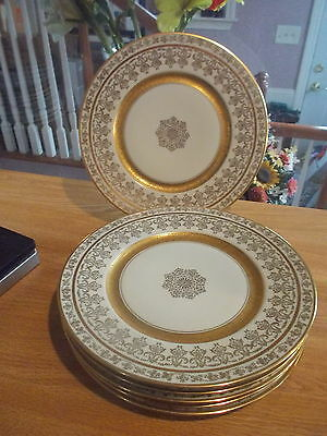 6 DELUXE DECORATING Czechoslovakia China Gold Encrusted Dinner Plates