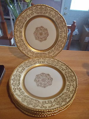 5 Hand Decorated PICKARD Bavaria Gold Encrusted Dinner Plates