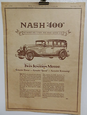 Vintage 1928 Nash 400 Twin Ignition Motor Car  Advertising Print Ad. Cars Auto's
