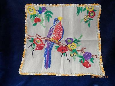 """Vintage - Hand -Embroidered & Hand Crochted  - 16"""" X 16"""" - Parrot Hanging"""
