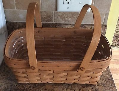 Vintage 1988 Longaberger Bread Basket with Double Handles With Plastic Liner