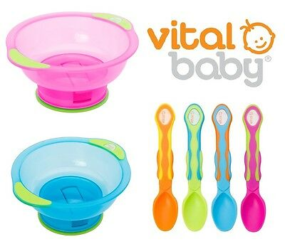 Vital Baby Unbelievabowl Suction Bowl Weaning Bowl & Soft Tip Feeding Spoons