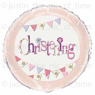 """PINK CHRISTENING Girl Party Balloons Decorations 18"""" FOIL BALLOON"""