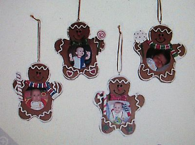 4 Resin GINGERBREAD MAN PICTURE FRAME Christmas ORNAMENTS gingerbreadmen CUTE