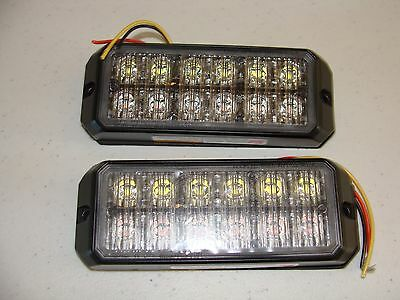 TWO [2] FEDERAL SIGNAL MPS1200-RW Warning Light, LED, 12VDC, Surface Mount