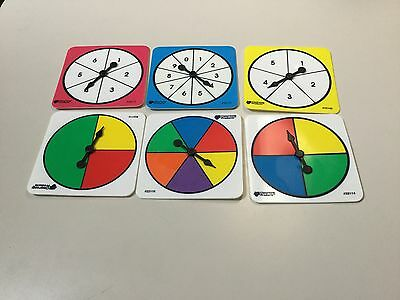 Fraction, Probability Spinners, Educational Manipulatives, 6 Per Set, New