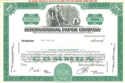 International Paper Company IP > 1941 New York old stock certificate share