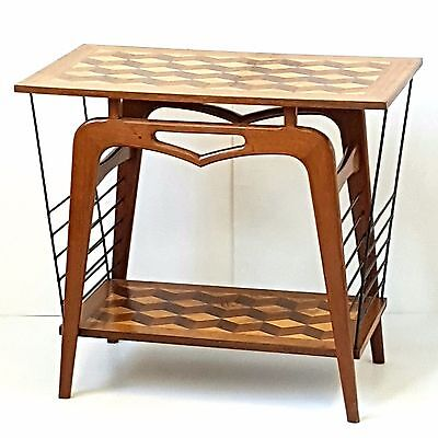 TABLE PEDESTAL CONSOLE SERVING MAGAZINE RACK MARQUETRY METAL 1960 VINTAGE 60's