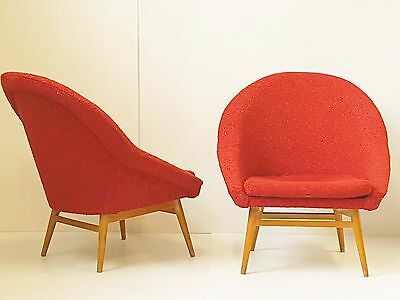 "SUPERB PAIR OF ARMCHAIRS ""EGG"" 1950 VINTAGE YEARS 50 COTTON & BEECH 50's"