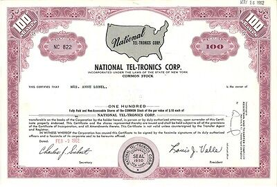 National Tel-Tronics Corp   1962 New York old stock certificate share