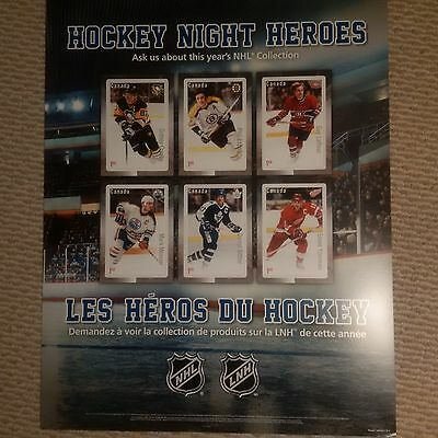 """Canada Post 22 x 28"""" marketing poster NHL Hockey Night Heroes Stamps. MINT! 2016"""