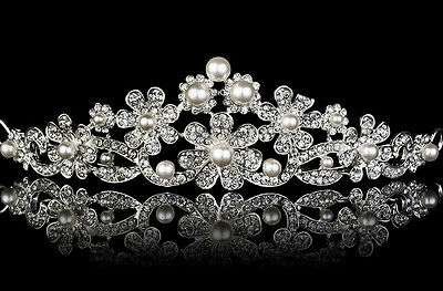 Victorian Inspired 7.70Ct. Rose Cut Diamond Pearl Silver Antique Tiara Crown