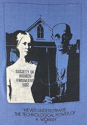 True Vintage 1982 Society of Women Engineers American Gothic Blue T-Shirt M/L