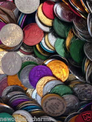 2.5 Pounds 10 - 12 Gauge Mardi Gras Throw Doubloons In a USPS Flat Rate Box