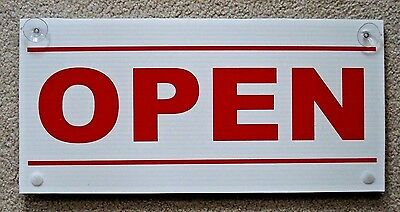 OPEN / CLOSED Plastic Coroplast Sign with Suction Cups 8.5x18 Red White -2 sided