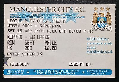 Maine Road Screening Ticket 1999 Play Off Semi-Final Manchester City v Wigan