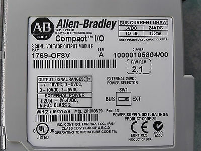 Allen Bradley CompactLogix 1769-OF8V analog 8 channel Compact IO