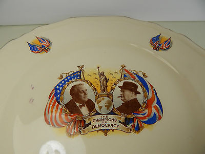 WWII Alfred Meakin Plate Champions of Democracy Roosevelt Churchill