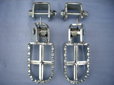 Trials Footrests /  Footpegs-Universal Complete With Brackets,classic,pre 65 Etc