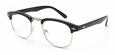 Outray Vintage Retro Classic Half Frame Horn Rimmed Clear Lens Glasses Silver