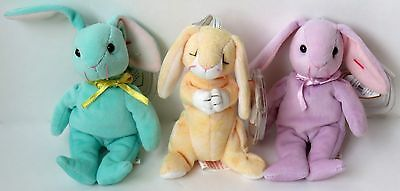 "Three Ty Plush Basket Beanies Ornaments - 3 Bunnies  4 1/2"" - 5"" H"