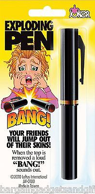 Exploding Trick Bang Pen Joke Funny Surprise Mens Boys Prank Birthday Gag Gift