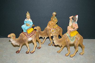 Vintage Italian '3 Wisemen On Camels' Nativity Figures - Made In Italy