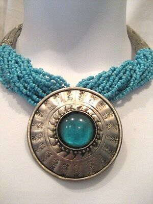Stunning Ethnic-Style (South American Possibly) Turquoise Necklace Disc Pendant