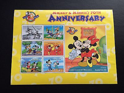 Dominica Disney Mickey & Minnie's 70Th Anniversary Souvenir Sheet Mint Nh