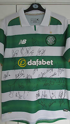 """Signed """" CELTIC F.C. """" 2016/17 HOME Shirt Signed by 27 (PROOF & COA)"""