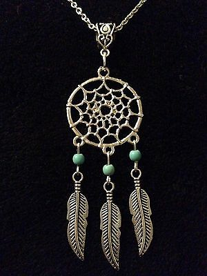 """Dream Catcher Necklace Pendant 24"""" Chain Turquoise Bead silver Feather Native UK"""