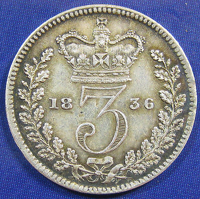 1836 3d William IV silver Threepence - scarce coin in a very decent grade