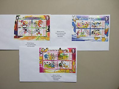 Three 2012 Congo CTO covers with DISNEY CHARACTERS SS