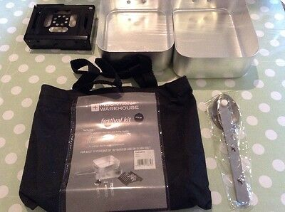 Camping Cooking Essentials Kit Hiking Festivals Fishing Mess Tins Cutlery New
