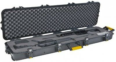 """54 """" Black Gun Case for 2 Double Scoped Rifle Hard Storage with Lock Protect"""