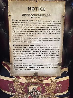 """Enamel Sign """"EXPLOSIVE ACT """"PENALTY SIGN Military? Ww11 ? Very Rare Antique"""