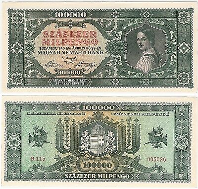 Hungary 100000 MilPengo 1946 P-127 AU-UNC RARE Hyper Inflation Banknote