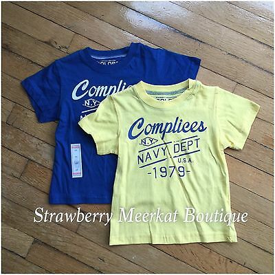 New 2 x Boys Complices French Designer T-shirt Top Bundle Combo Yellow & Blue 4