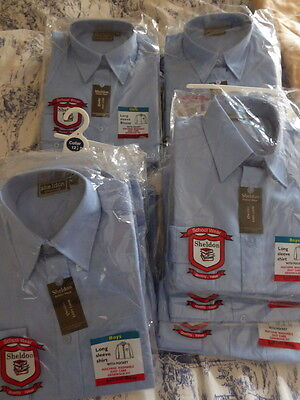 16 Blue School uniform shirts Boy& /girls ages 7/8 and 9/10 long sleeved