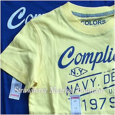New 2 x Boys Complices French Designer T-shirt Top Bundle Combo Yellow & Blue 6