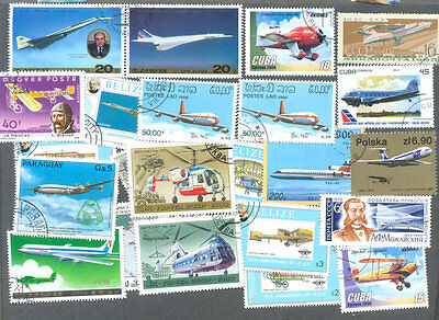 Aviation-500 all different stamp collection-excellent value