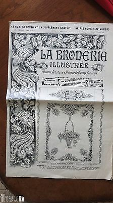 RARE Vintage French France Printing Transfer Pattern Victorian 1911 Graphics