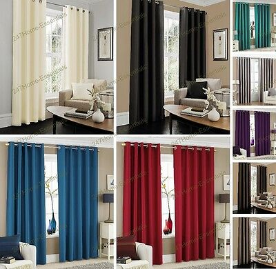 Luxury Eyelet Curtains, RING TOP Ready Made Fully Lined With Tie Backs Faux Silk