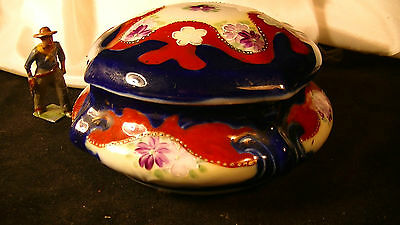 Vintage Moriage Beaded Trinket Ring Dresser Box Dish Lidded Floral Design lot#29